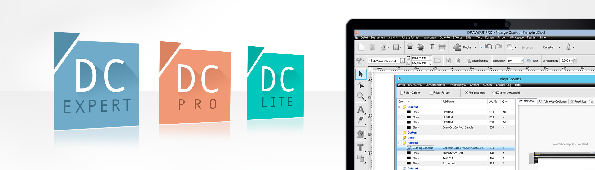 DrawCut LITE, software borda PRO e especialista de corte